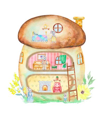 Märchenpilzhaus mit Möbeln und Kaninchenfamilie. Aquarell hand gezeichnete Abbildung Standard-Bild - 96224487
