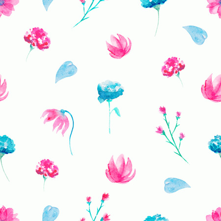Seamless background pattern with twigs and flowers. Watercolor hand drawn illustration Zdjęcie Seryjne
