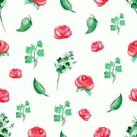 Seamless background pattern with roses and flowers. Watercolor hand drawn illustration Stock Photo