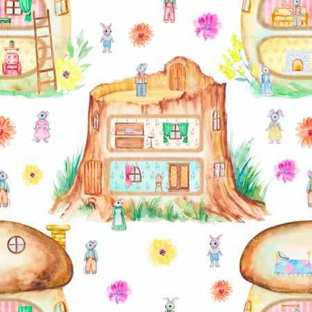 Pattern di sfondo senza soluzione di continuità con favolose case, coniglietti, topi e fiori. Illustrazione disegnata a mano dell'acquerello Archivio Fotografico - 96319170