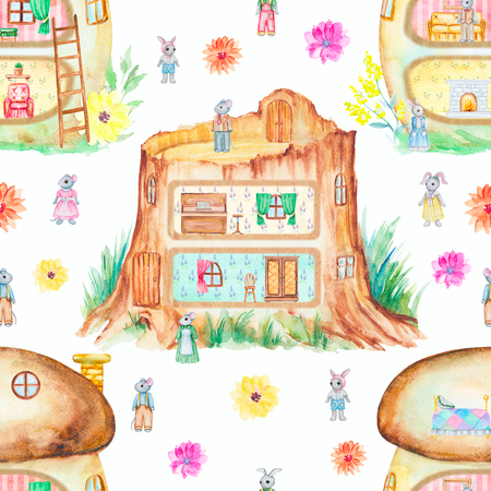 Seamless background pattern with fabulous houses, bunnies, mice and flowers. Watercolor hand drawn illustration
