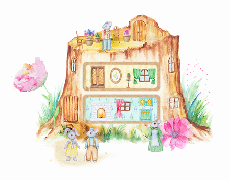 Fairy tale stumphouse with furniture and family of mice. Watercolor hand drawn illustration