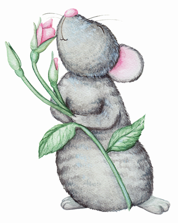 Mouse smells a flower. Watercolor illustration isolated on white background