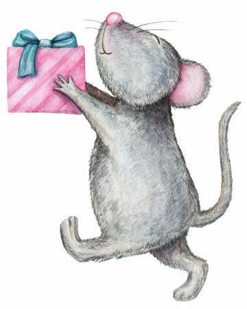 Mouse gives a gift box. Watercolor illustration isolated on white background