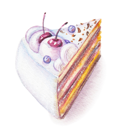 Watercolor hand drawn sweet and tasty piece of cake with cherry and blueberry on it Stockfoto