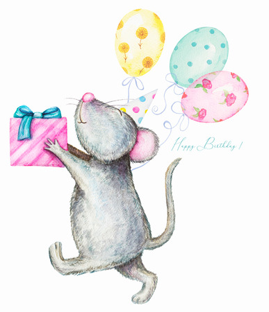 Mouse in cap gives a gift box with balloons. Watercolor illustration isolated on white background