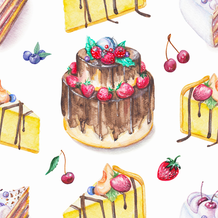 Seamless background pattern with cakes and fruits