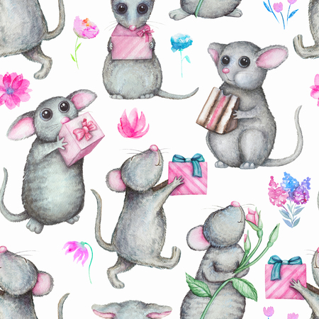 Seamless background pattern with cute mice, gifts and flowers. Watercolor hand drawn illustration Stock Photo