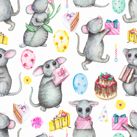 Seamless background pattern with cute mice, gifts, balloons, cake, candles and flowers. Watercolor hand drawn illustration Stock Photo