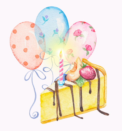 Watercolor hand drawn sweet and tasty piece of cheesecake with candle and balloons