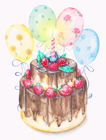 Watercolor hand drawn sweet and tasty cake with candle and balloons Imagens