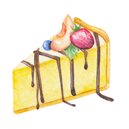 Watercolor hand drawn sweet and tasty piece of cheesecake with strawberry, peach and blueberry on it
