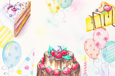 Watercolor hand drawn three cakes with candle, cap and balloons. Birthday greeting card