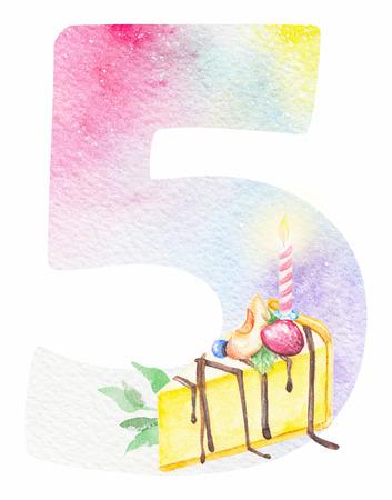 Aquarelle. numéro aquarelle avec cinq et des bonbons de bonbons pour les invitations d & # 39 ; anniversaire et des cartes de voeux Banque d'images - 98280857