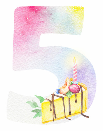 Watercolor alphabet. Watercolor number five with cake and leves. Monogram for birthday invitations and cards 스톡 콘텐츠