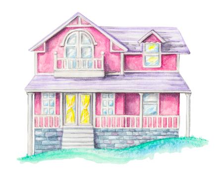 집, 흰색 배경에 고립 된 녹색 잔디밭에 별장. 수채화 손으로 그린 그림