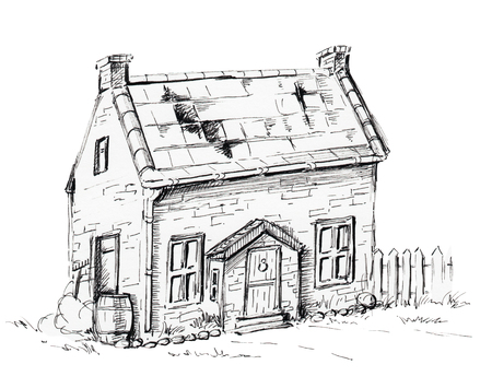 Old house, cottage on lawn. Graphic hand drawn illustration Stock Photo