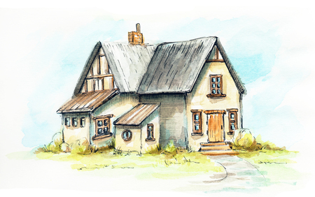 Old house, cottage on an green lawn. Watercolor hand drawn illustration