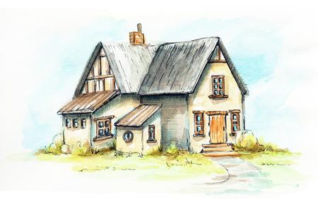 Oud huis, huisje op een groen gazon. Aquarel hand getekende illustratie