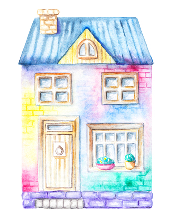 House, cottage isolated on white background. Watercolor hand drawn illustration Stock Photo