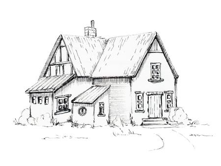 古い家、芝生の上のコテージ。グラフィックハンド描きイラスト