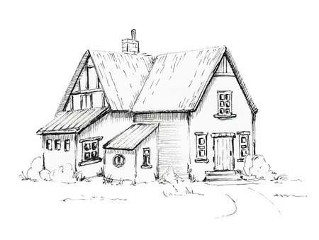 Old house, cottage on lawn. Graphic hand drawn illustration 스톡 콘텐츠