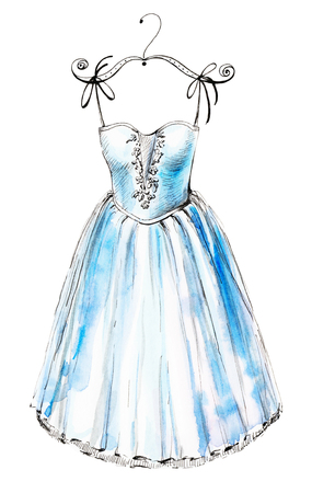 Watercolor illustration with a blue ballet dress. Sketch, drawing by hand.