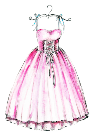 Watercolor illustration with a pink ballet dress. Sketch, drawing by hand. Stock Photo