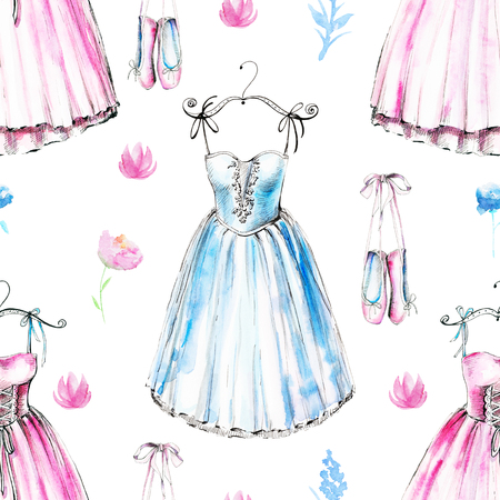 Seamless background pattern with ballet dresses, pointe and flowers. Watercolor hand drawn illustration Stock Photo