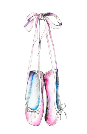 Watercolor illustration with a pink pointe. Sketch, drawing by hand.