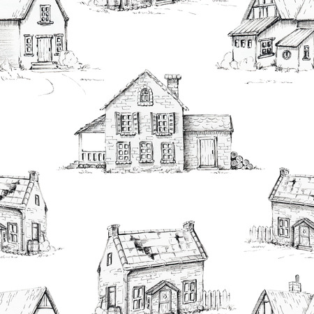 Seamless background pattern with three old houses. Graphic hand drawn illustration Stock Photo
