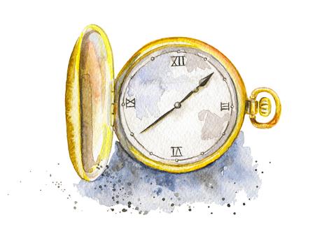 Vintage golden pocket watch on watercolor splotches. Watercolor hand drawn illustration Standard-Bild