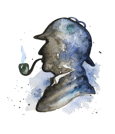 Vintage silhouette of detective  with smoking pipe and hat on watercolor splotches. Watercolor hand drawn illustration
