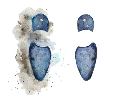 Vintage footprints from shoes on watercolor splotches. Watercolor hand drawn illustration Stok Fotoğraf