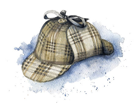Vintage hat on watercolor splotches. Watercolor hand drawn illustration Фото со стока