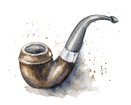 Vintage smoking pipe on watercolor splotches. Watercolor hand drawn illustration
