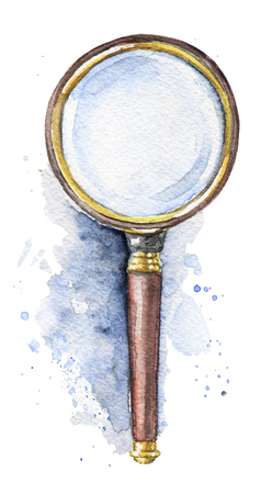 Vintage magnifier on watercolor splotches. Watercolor hand drawn illustration