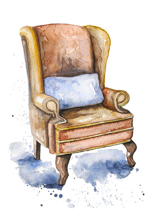 Vintage armchair  with pillow on watercolor splotches. Watercolor hand drawn illustration 스톡 콘텐츠