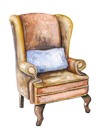 Vintage armchair of Sherlock Holmes with blue pillow on white background. Watercolor hand drawn illustration