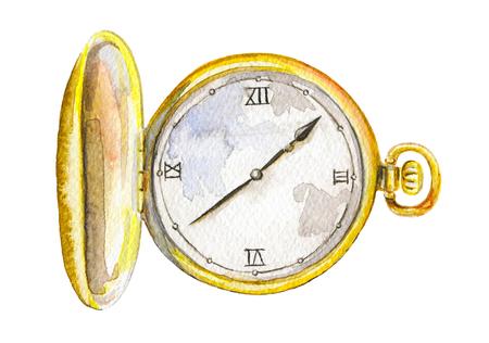 Vintage golden pocket watch on white background. Watercolor hand drawn illustration