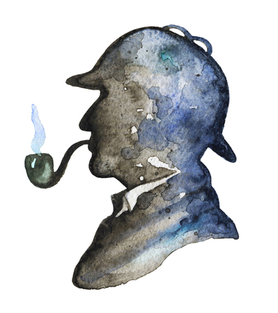 Vintage silhouette of  man smoking pipe and hat on white background. Watercolor hand drawn illustration