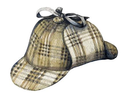 Chapeau vintage sur fond blanc. Illustration aquarelle dessinée à la main Banque d'images
