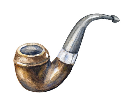 Vintage smoking pipe on white background. Watercolor hand drawn illustration