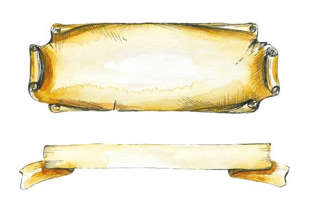 2つの碑文フレーム、古い紙を模倣。水彩画手描きイラスト
