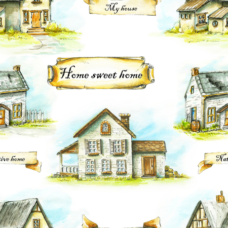 Seamless background pattern with three old houses. Watercolor hand drawn illustration