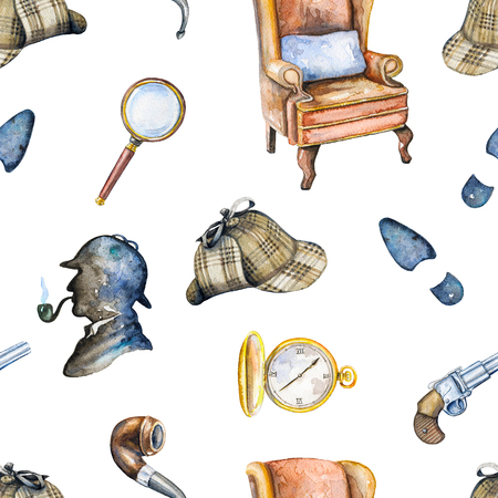 Seamless vintage pattern with hat, smoking pipe, pistol, footprint, chair, magnifier, pocket watch and silhouette of Sherlock Holmes on white background. Watercolor hand drawn illustration