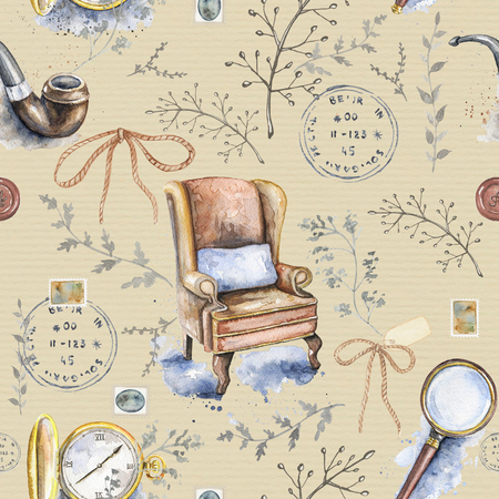 Seamless vintage pattern with smoking pipe, chair, bow, magnifier, pocket watch, branches and stamps on beige background. Watercolor hand drawn illustration Stockfoto