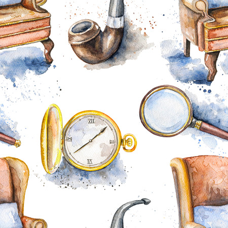 Seamless vintage pattern with smoking pipe, chair, magnifier and pocket watch on white background. Watercolor hand drawn illustration
