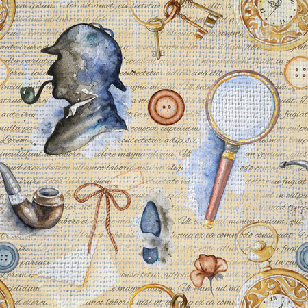 Seamless vintage pattern with smoking pipe, footprint, buttons, magnifier, pocket watch and silhouette of Sherlock Holmes on beige background with inscriptions. Watercolor hand drawn illustration Stok Fotoğraf