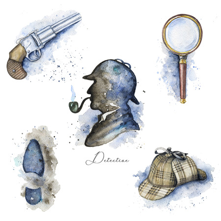 Vintage set with hat, magnifier, pistol, footprint and silhouette of Sherlock Holmes on white background. Watercolor hand drawn illustration 스톡 콘텐츠